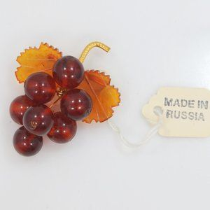 Vintage Russian Amber Grapes Cluster Pin w/Tag